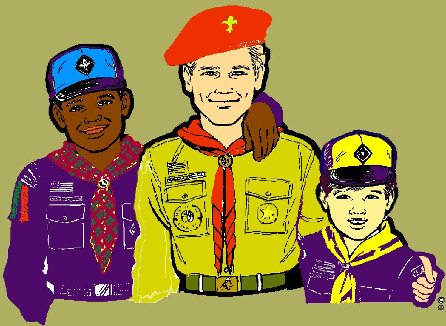 Drawing of a Boy Scout with a Webelos Scout and a Cub Scout